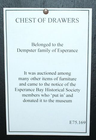 Donated - Dempster Family Chest of Drawers Notice